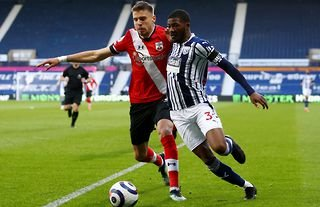 West Brom and Arsenal man Ainsley Maitland-Niles battling for possession against Southampton