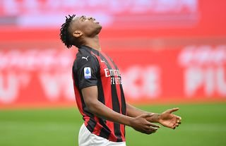 AC Milan forward and potential Wolves target Rafael Leao looking up into the sky