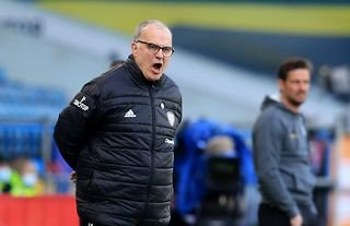 Leeds manager Marcelo Bielsa barking instructions to his team