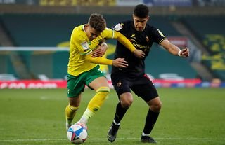 Norwich City's Max Aarons in action against Watford