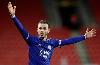 Leicester midfielder James Maddison asking for the ball