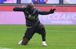 Romelu Lukaku celebrates scoring for Inter Milan