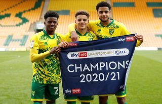 Norwich defender and Spurs target Max Aarons celebrating Norwich's title win