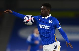 Yves Bissouma in action against Leicester City