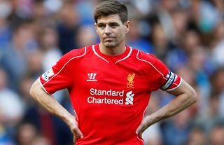 Steven Gerrard in action for Liverpool vs Chelsea in 2015