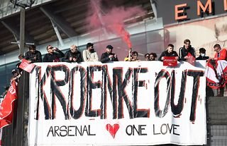 Arsenal fans protesting against Stan Kroenke
