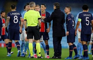 Angel Di Maria was sent off in Man City vs PSG