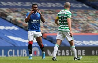 Alfredo Morelos and Scott Brown in Rangers vs Celtic