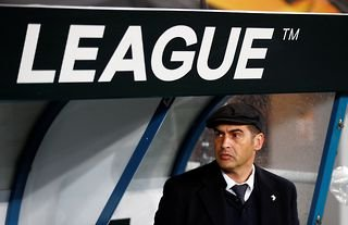 Former Roma manager Paulo Fonseca watches on during a match with Gent in the Europa League