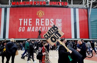 Manchester United protesters outside Old Trafford