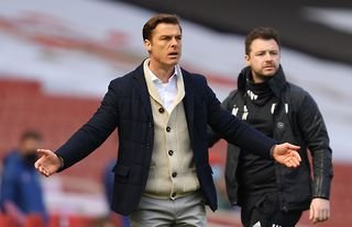 Fulham boss and Tottenham target Scott Parker looking confused by a decision