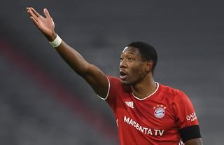 Former Liverpool target David Alaba reacts whilst playing for Bayern Munich
