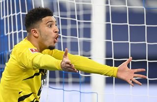 Manchester United target Jadon Sancho reacts whilst playing for Borussia Dortmund