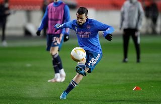 Arsenal's Dani Ceballos during the warmup in the Europa League amid speculation over his future