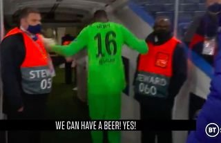 Edouard Mendy was certainly looking forward to a beer...