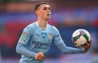 Phil Foden playing for Manchester City