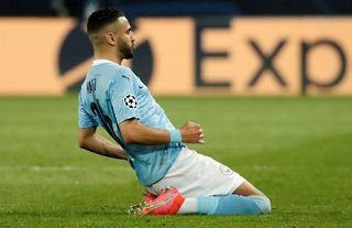 Manchester City's Riyad Mahrez celebrates after scoring against PSG amid speculation of a new contract