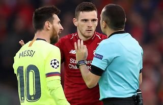 Andy Robertson clashed with Messi in Liverpool 4-0 Barcelona