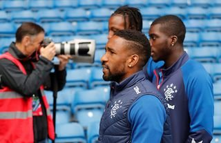 Rangers stiker Jermain Defoe arrives at Ibrox before the Old Firm derby against Celtic