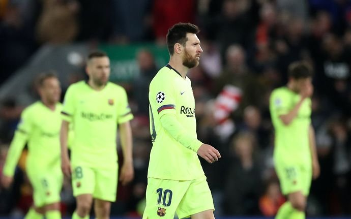 Lionel Messi during Liverpool 4-0 Barcelona