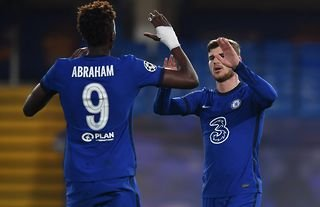Chelsea's Abraham and Werner celebrate in the Champions League.
