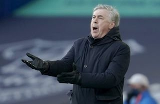Everton manager Carlo Ancelotti appears unhappy with a decision