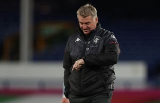 Aston Villa manager Dean Smith looking at his watch