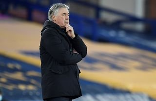 Everton manager Carlo Ancelotti deep in thought