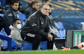 Leeds manager Marcelo Bielsa watching his team closely