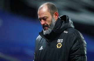 Wolves manager Nuno Espirito Santo looking disappointed