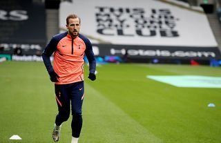 England captain Harry Kane warms up before playing Sheffield United in the Premie League