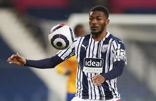 Ainsley Maitland-Niles in action for West Brom amid interest from Man United in the Arsenal man
