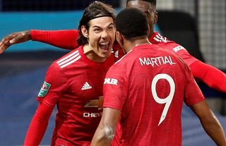 Edinson Cavani and Anthony Martial in action for Man United