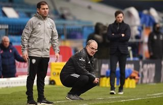 Leeds United manager Marcelo Bielsa watches his side in action against Tottenham Hotspur