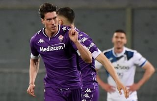 Fiorentina striker and Liverpool target Dusan Vlahovic celebrates finding the net