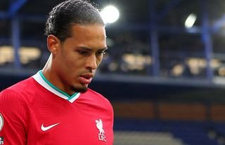 Virgil van Dijk walking off the pitch after an injury against Everton amid speculation over a new contract