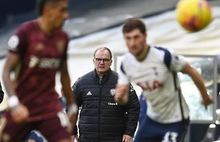 Leeds United manager Marcelo Bielsa watches his team in action against Tottenham Hotspur