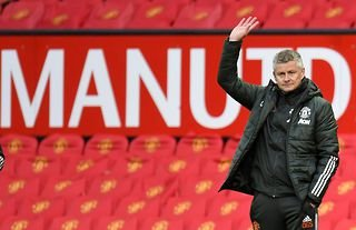 Manchester United manager Ole Gunnar Solskjaer watches his side in action agaisnt Leicester City at Old Trafford