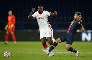 Ibrahima Konate in action for RB Leipzig amid reports that he has agreed a deal with Liverpool