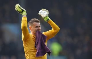Aston Villa's Tom Heaton in action amid interest from Man United and Liverpool