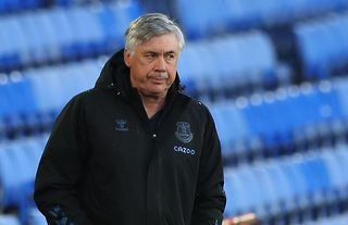 Everton manager Carlo Ancelotti watches his side lose to Sheffield United at Goodison Park