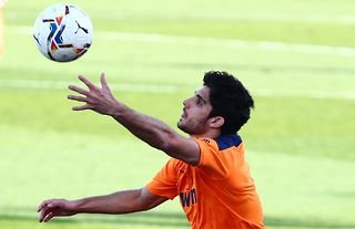 Valencia forward and Wolves target Goncalo Guedes in action