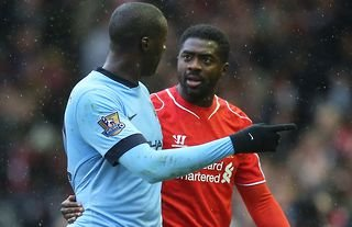 The Toure brothers during a Man City vs Liverpool clash.