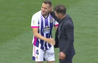 Diego Simeone consoled a Valladolid player after they were relegated