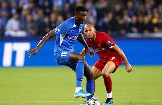 Genk's Paul Onuachu in action against Liverpool amid speculation that he could join the Reds