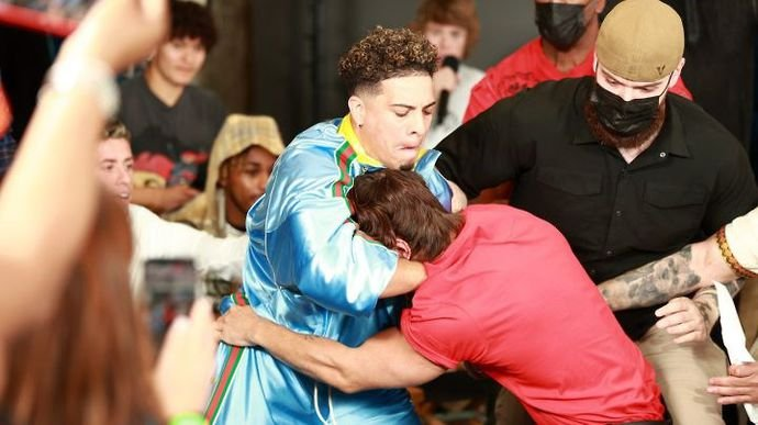 Austin McBroom and Bryce Hall clashed at the YouTube vs TikTok Boxing press conference