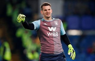 Tom Heaton warming up for Aston Villa as reports emerge that he will join Man United