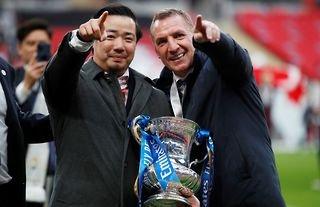 Leicester City boss Brendan Rodgers celebrates after winning the FA Cup