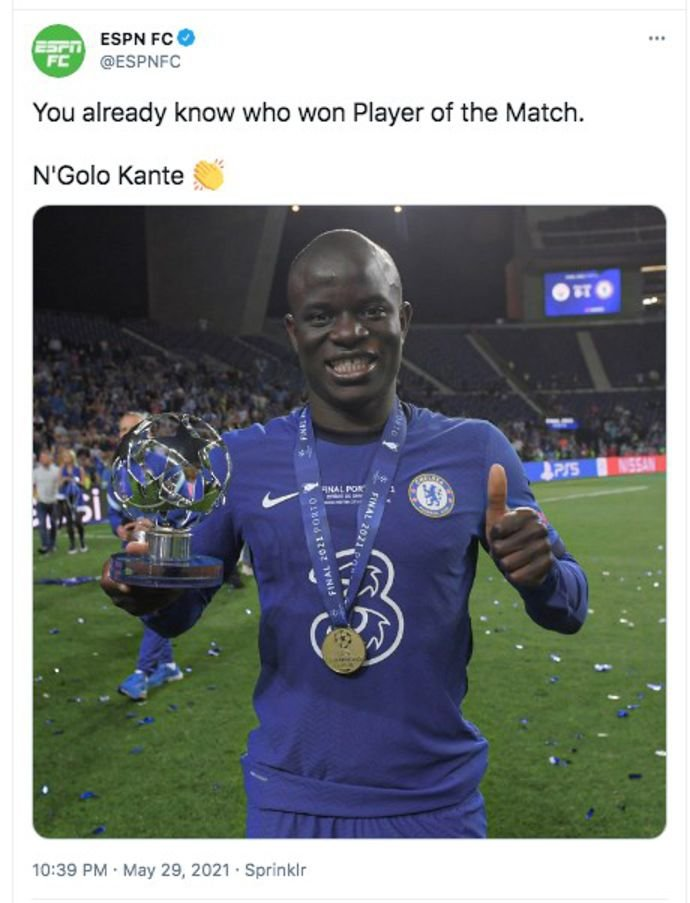 N'Golo Kante makes Chelsea fans laugh during Champions League trophy  presentation | GiveMeSport