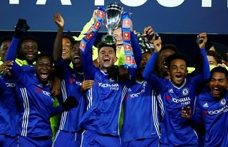 Chelsea celebrate winning the 2017 FA Youth Cup title.